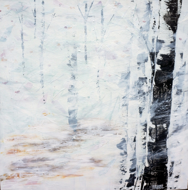 Abstract painting of leaves floating in the air as snow saturates a forest of stark trees