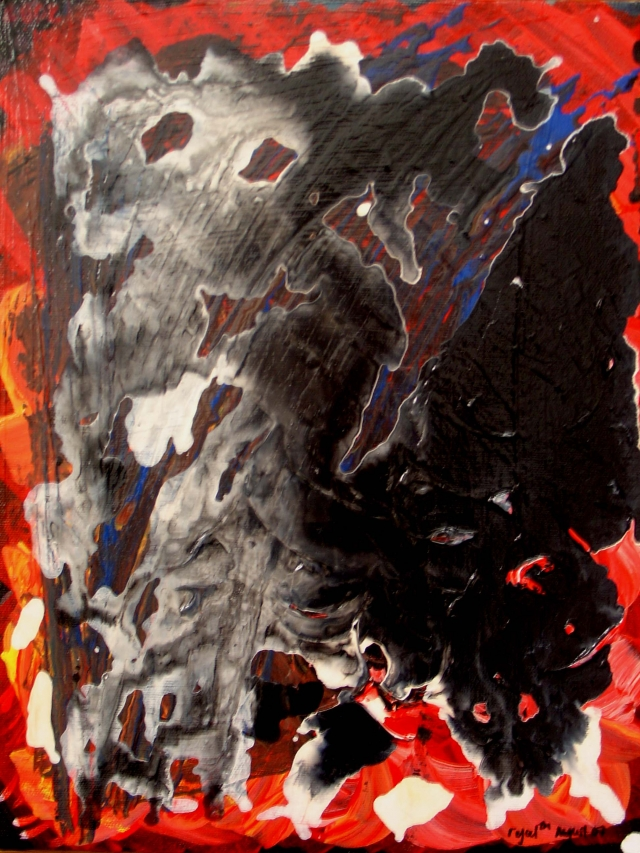 Abstract painting of black fungus growing on red surface