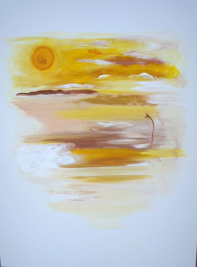 Abstract painting of a single tree on an island surrounded by a golden sky and sea