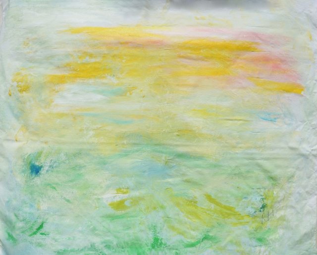 Abstract painting of light and mist descending upon a green hill
