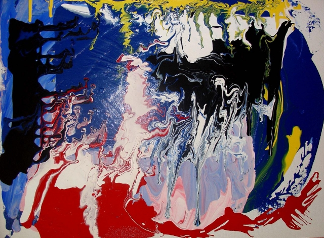 Abstract painting of peppermint and other candies melted together to create a large flat lump of mixed colors