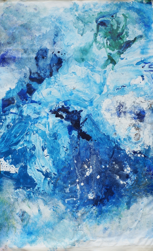Abstract painting of an iceberg disintegrating into the ocean