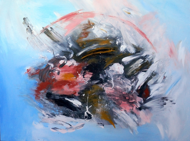 Abstract painting of a disturbance breaking a blue calm - landscape view
