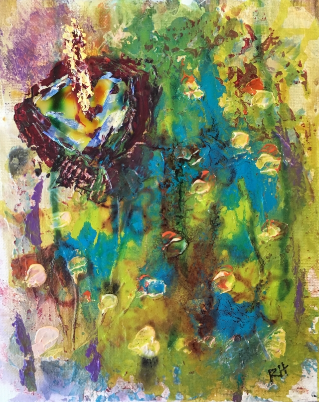 Abstract painting of one large anthium and other smaller flowers