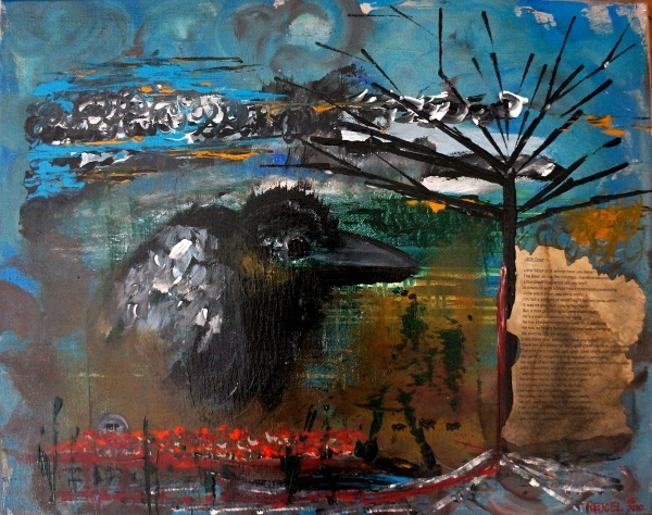 Abstract painting of a little black crow singing a song about his tribulation and subsequent freedom