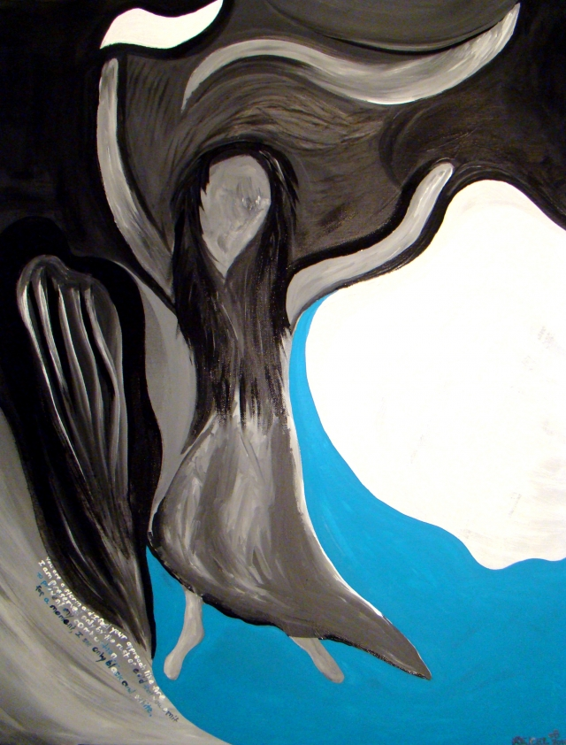Abstract expressionistic painting of a woman in a dress playing the cello