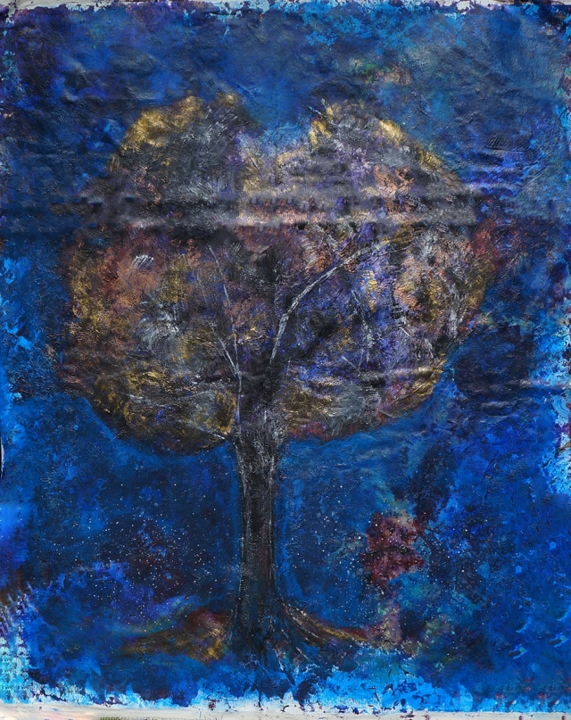 Abstract painting of a single large tree standing during the quiet of midnight