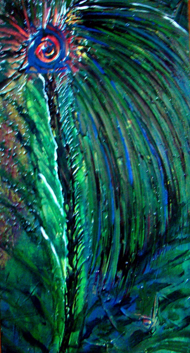 Abstract painting of single leaf from a palm tree
