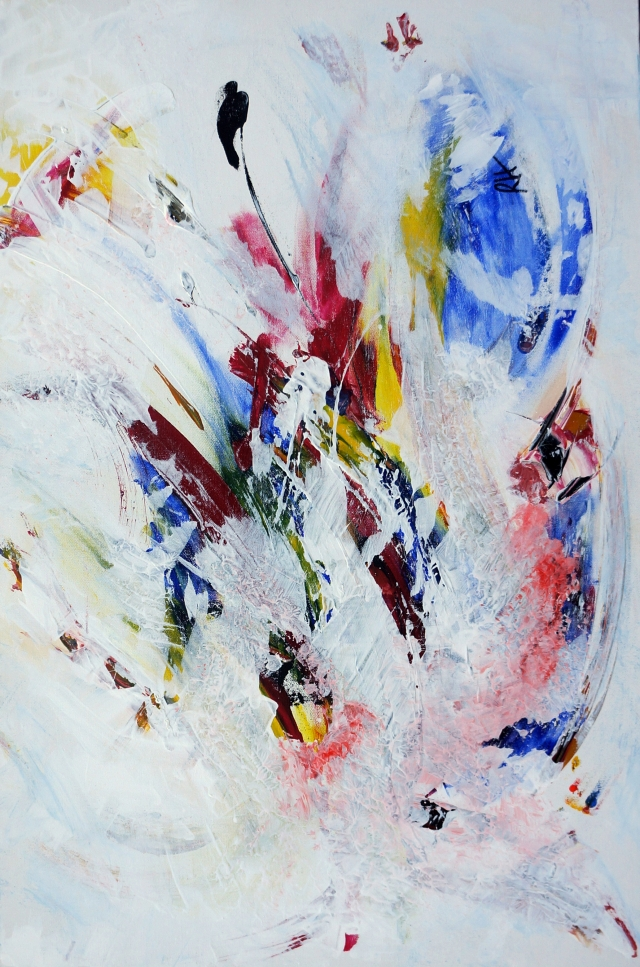 Abstract painting of an exploding pinata - portrait view