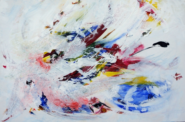 Abstract painting of an exploding pinata - landscape view