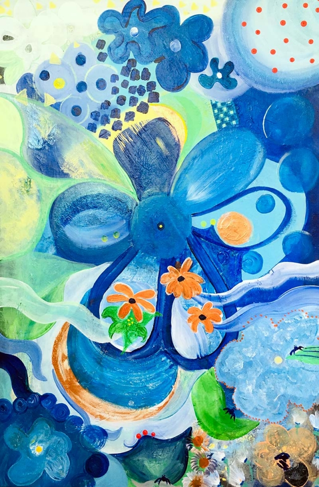Abstract pop art painting of a vibrant blue floral motif