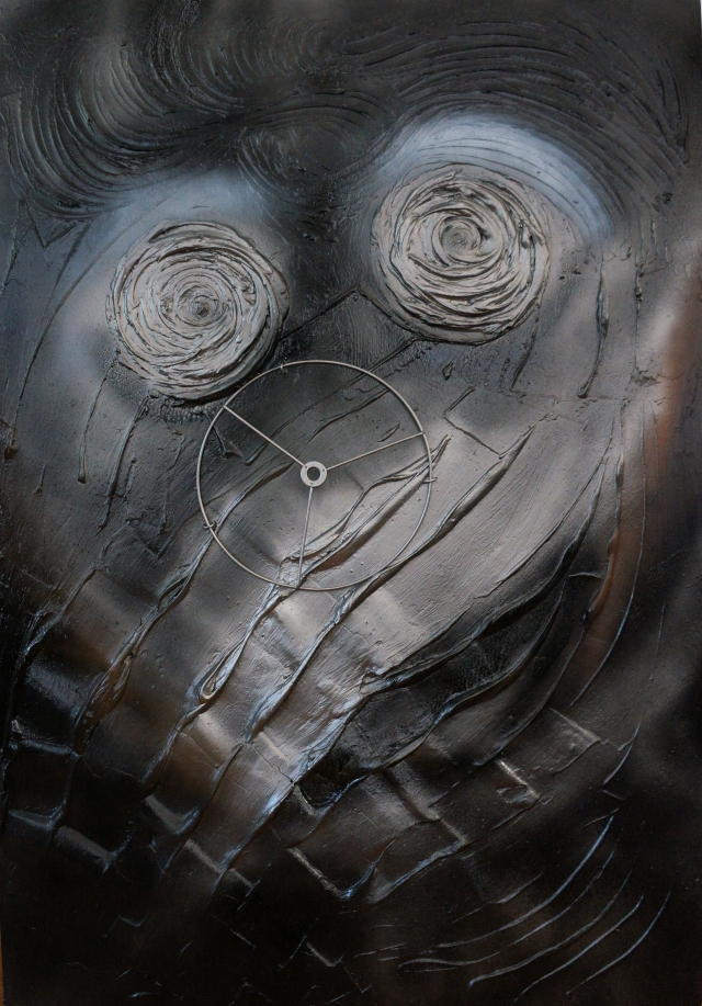 Abstract painting of a distorted male face