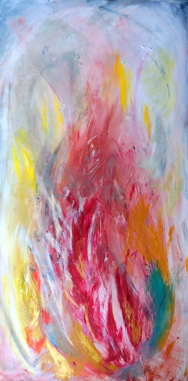 Abstract painting of smoke and flames being blown sideways by the wind - portrait view