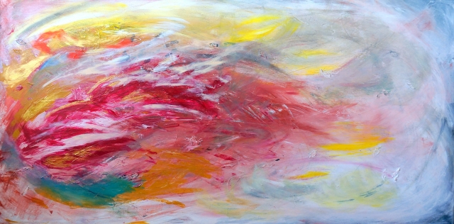 Abstract painting of smoke and flames being blown sideways by the wind - landscape view