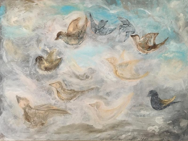 Abstract painting of sparrows flying in the sky among clouds