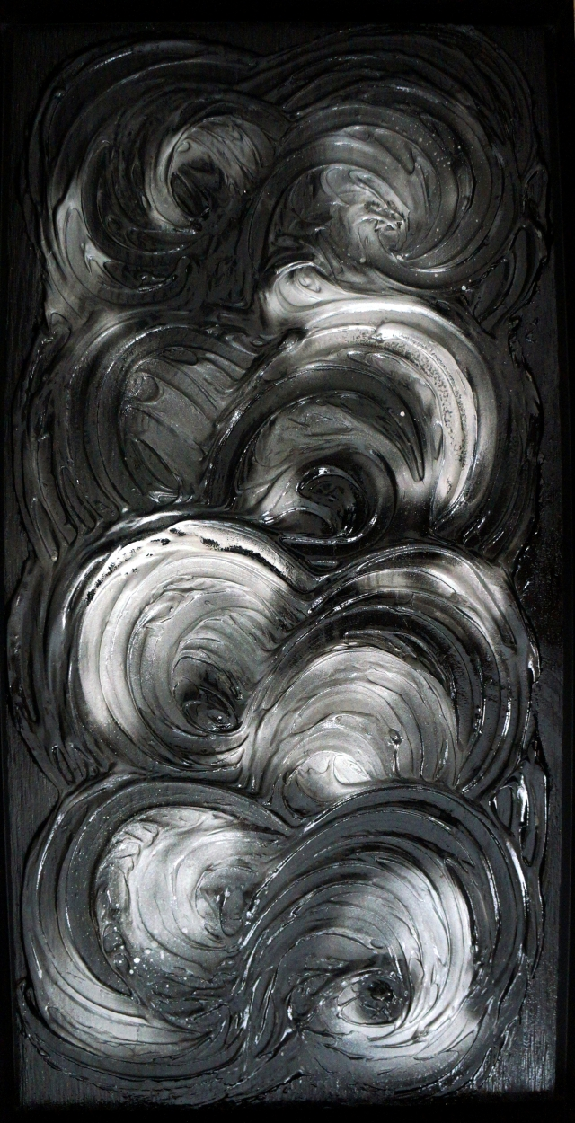 Abstract painting of black and white swirls