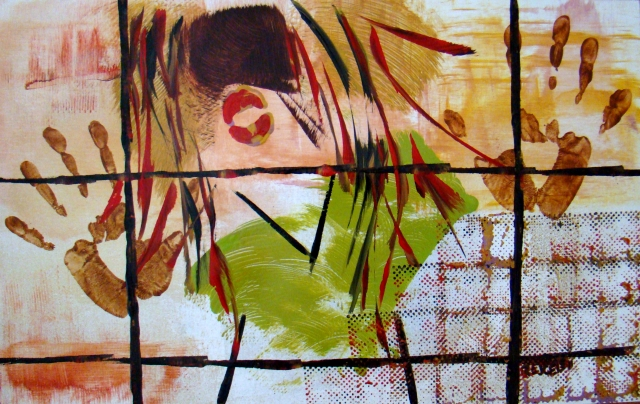 Abstract expressionistic painting of a girl with colorful red streaks in her hair dancing behind a wire fence