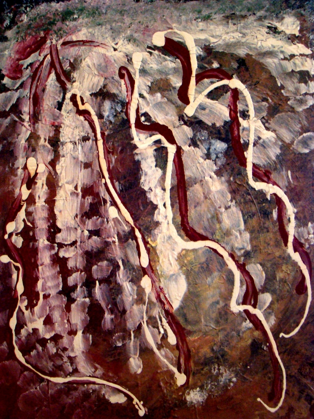 Abstract painting of the tentacles of an octupus