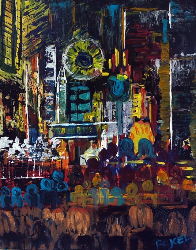 Abstract painting of people walking under the many neon signs and buzzing lights of a bustling city