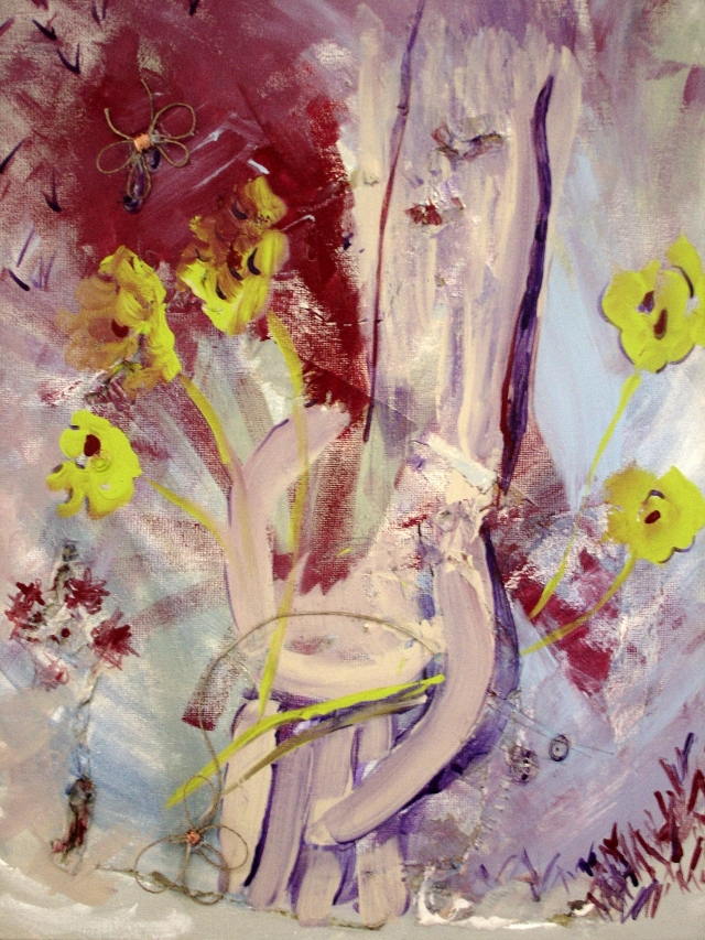 Abstract expressionistic painting of a man's hand holding wildflowers