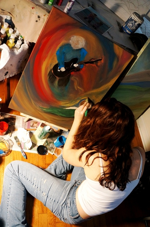 Rachael creating the painting Since I Met You Baby