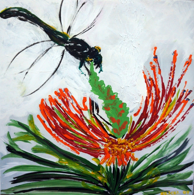 Painting of a dragonfly on the tip of a flower's center