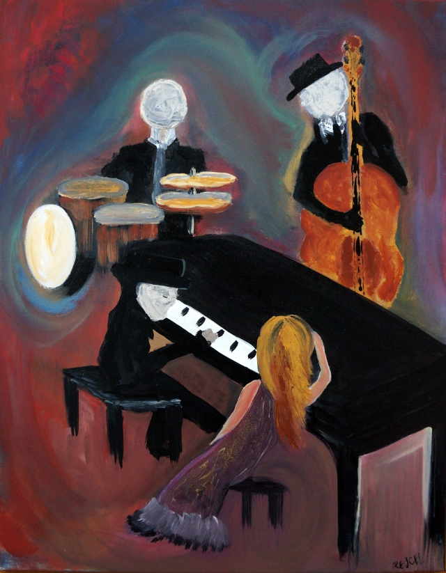 Impressionism painting of a woman sitting on a piano bench as three men play music - a pianist, a drummer and a cellist
