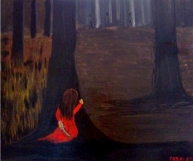 Impressionstic painting of a girl in a red dress hiding behind a tree in a forest, holding a knife, while men in the background search for her
