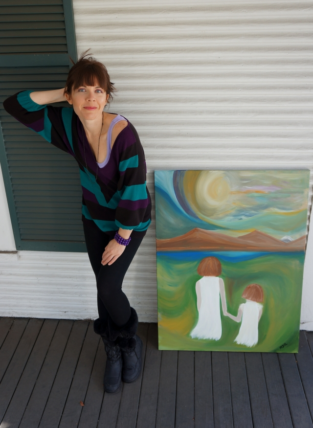 """Artist Rachael Harbert next to painting """"Hayden and Riley"""" on the porch of a Victorian house - 1"""