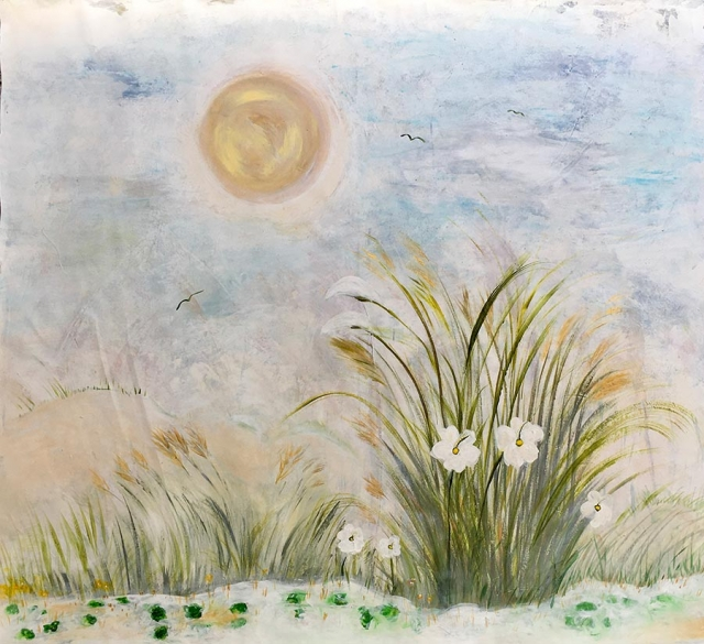 Painting of the sun casting a haze upon white sandy dunes, wild grass and flowers