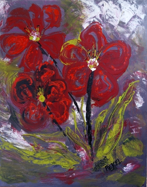 Impressionistic painting of three red impatient flowers with lime colored leaves against a gray background