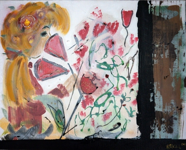 Mixed media painting of a little girl with golden hair sniffing a bush of roses