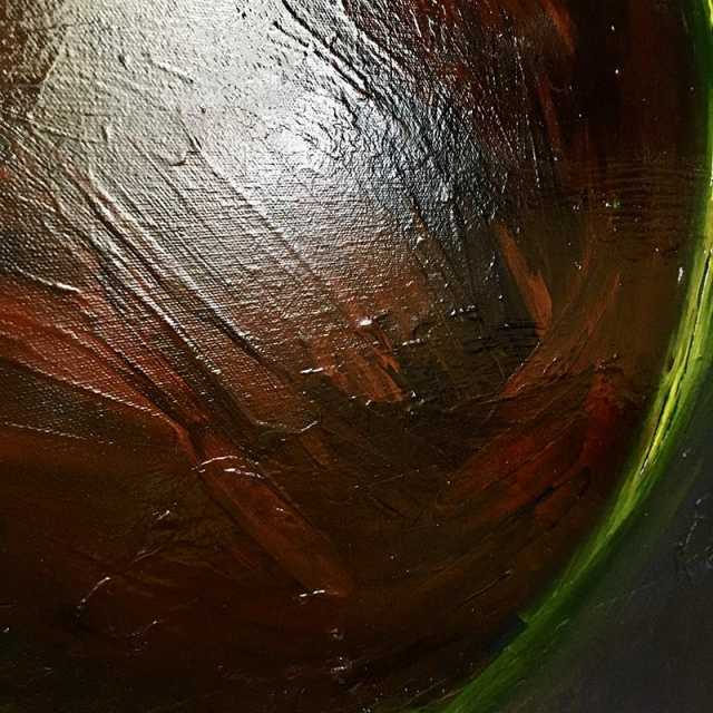 Up close detail of painting texture of Scarlet Planet
