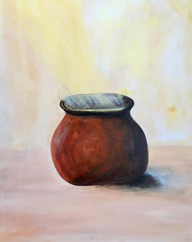 Impressionism painting of light beaming down and into a copper clay pot
