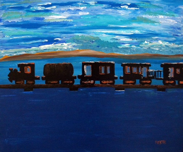 Impressionism painting of a black train toting four cars crossing a bridge that traverses a large lake