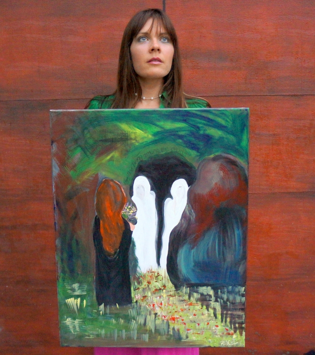 """Artist Rachael Harbert holds painting """"The Witness"""" in front of a large red door"""