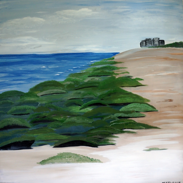 Impressionistic painting of a beach lined with rocks covered in green algae