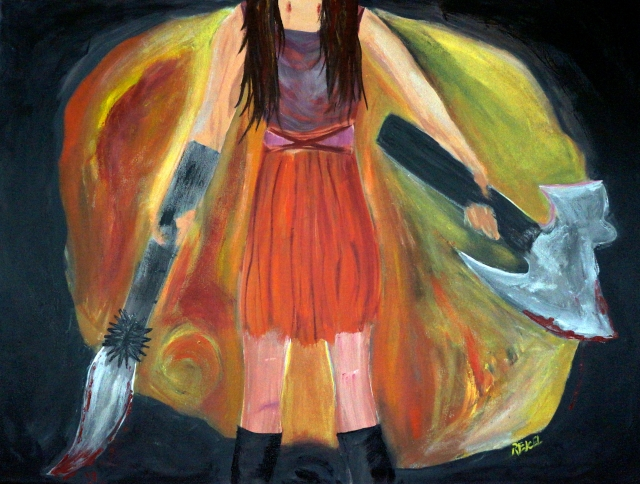 Impressionistic painting of a young woman holding a medieval sword and axe