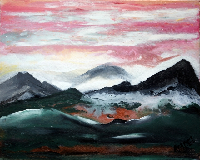 Impressionistic painting of mountains and a pink sky as a fog settles on them