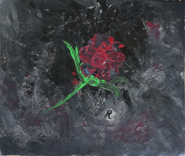 Impressionistic painting of a single red rose on top of a black background