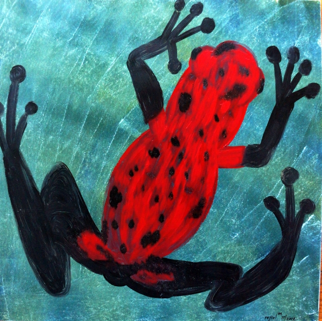 Impressionistic painting of a red poison dart frog