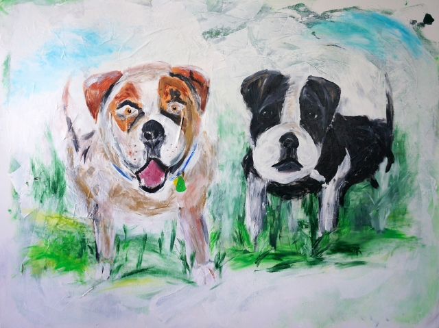 Impressionist painting of two bulldogs - a male and female - named Big Blue and Bella
