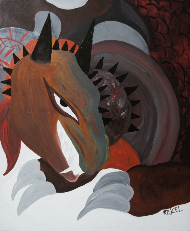 Painting of a large male dragon with sharp horns and teeth