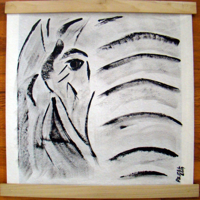 Simplistic black and white painting of the face of an elephant