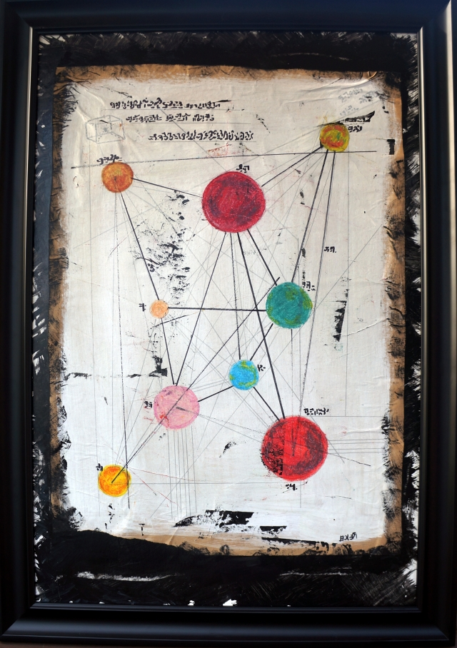 Painting of a map of imaginary planets within a black wood frame