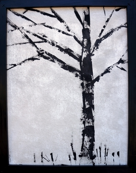 Black and white painting of a stark and leafless tree accompanied by a few blades of grass