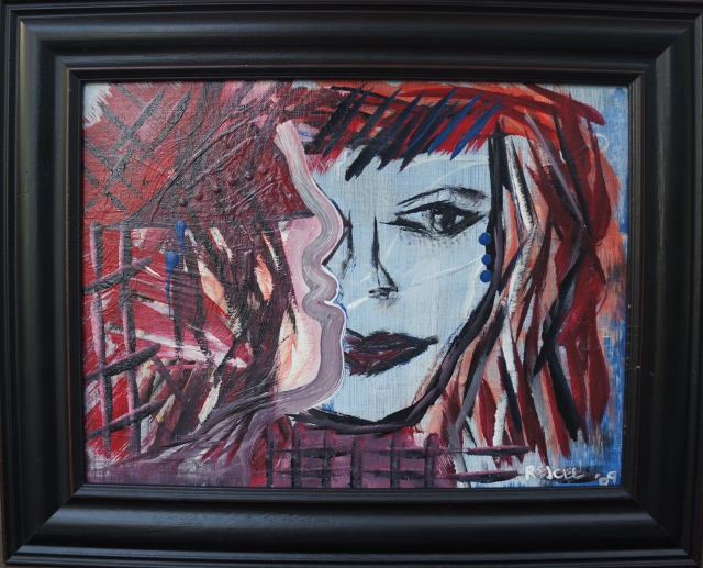 "Abstract expressionism painting ""Restless"" in black wooden frame"