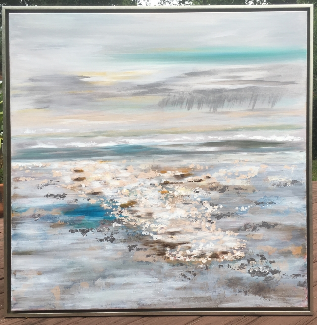 "Painting ""Temperate Shore"" in silver leaf floating frame"