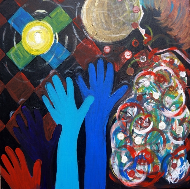 "Pop art painting of people dancing in a night club entitled ""At the Disco"" - final iteration"