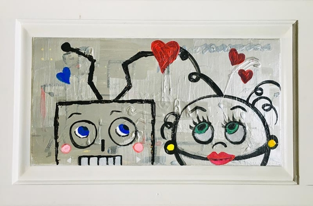 Simple pop art painting of robots in love